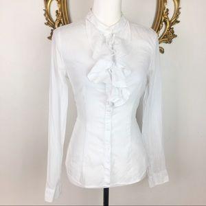 H&M White Ruffled Button Down Shirt Size 8